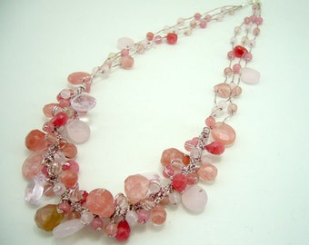 Cherry quartz,rose quartz hand-knotted on silk thread necklace