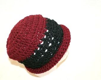 Womens Crochet Red Hat, Black Rolled Brim Hat, Hip Fashion Beanie, Trendy Winter Cloche, Spring Fashion, Red Crochet Hat, Women's Cloche