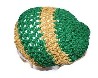 Green Slouch Hat, Gold Slouchy Cap, Green and Gold Hat, Knit Sock Cap, Mens Crochet Hat, School Hat, Crochet Slouch Hat