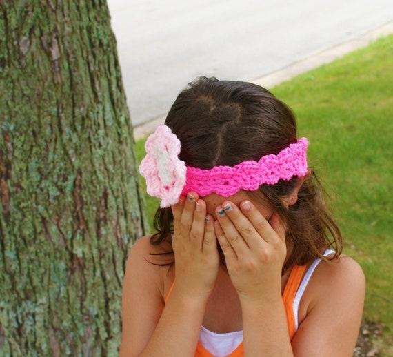 Pink Floral Headband, Hot Pink Headband, Little Girl HairBand, Crochet Pink Headband, Flower Headband, Fashion Hair band, Hair Decorat