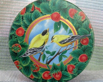 Vintage Birds and Strawberries Confectionery Candy Tin Box