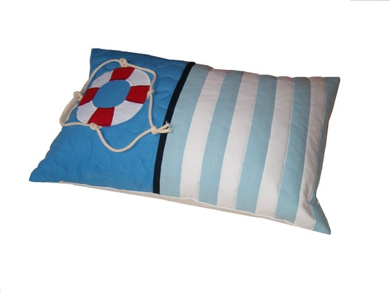 Life Buoy Pillowcase, Lifebelt motives,  Sailing boat Theme  Designer Pillow, -  Blue Red and White- Nautical Ocean Beach Theme