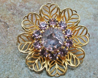 Pale Pink and Gold Rhinestone Brooch