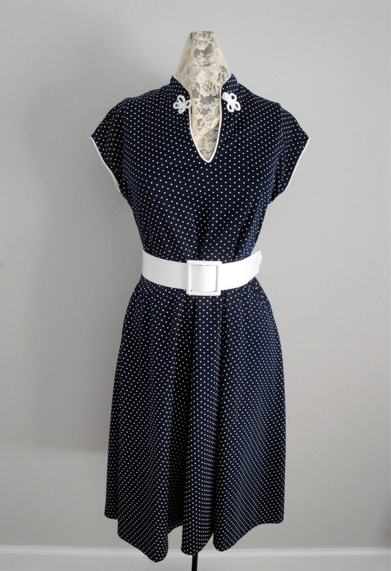 Vintage 1960s Day Dress 60s Navy White Polka Dot Pic Nic Dress Size Med Large