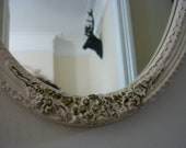 Vintage 1950's French Louis Style Full Length Wall Mirror in Ivory Cream