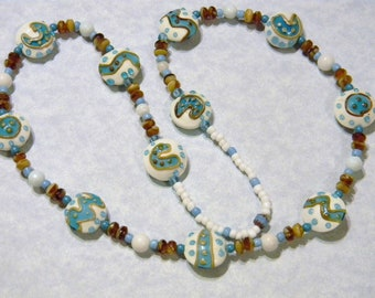 Art Glass and Gemstone Necklace