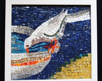 "Dove Mosaic Wall Hanging - Italian Smalti Glass Mosaic Wall Art - ""Bird at the Fountain"" - Handmade mosaic Art by ElleBelleArt"