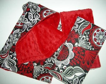 Black, Red, White Floral & Red Minky Baby Girl Set