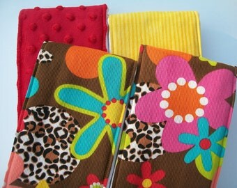 Burp Cloths - Brown Leopard, Yellow Stripe & Minky (Set of 4)