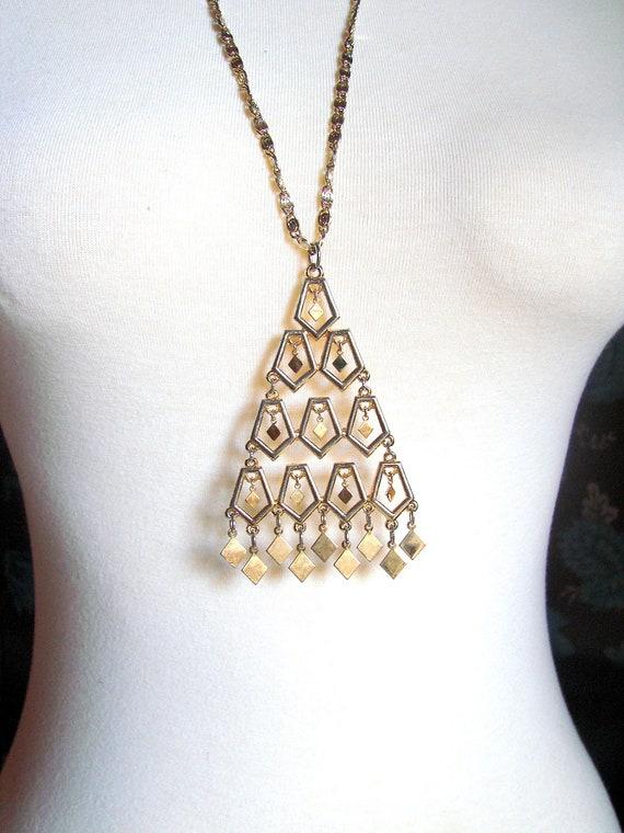 1960 Lisner Necklace / Golden Boho Dangle Runway Necklace / Designer Costume Jewelry