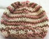 Pink and Brown Newborn Hat