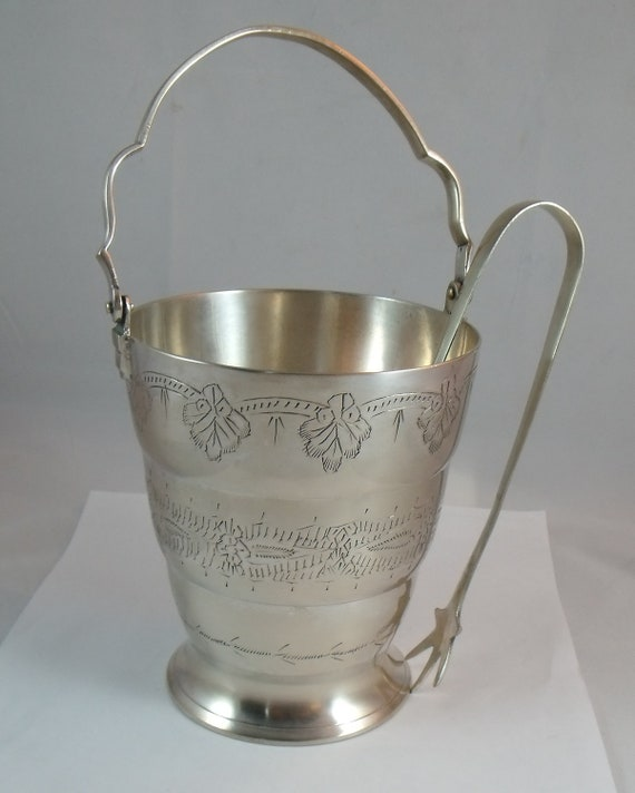 Vintage Silver  Mini Ice Bucket with Tongs