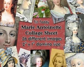 """Marie Antoinette Dominoes Digital Collage Sheet  - 2"""" x 1"""" domino size tags  x 28 - Great for scrapbooks, card making, tags Instant Download"""