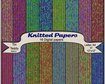 Knitted Digital Paper 16 Knit Effect Printable Backgrounds for  Scrapbooks Card Making Wrapping Paper Crafts