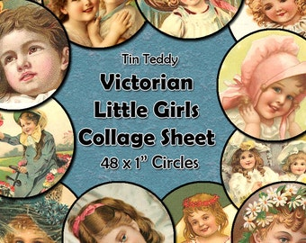 Victorian Little Girls Vintage Printable Digital Collage Sheet  - 1 Inch Circles x 48  - Perfect for Jewelry, Bottle Caps etc