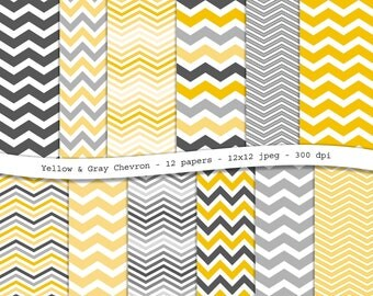Yellow Gray Chevron digital scrapbooking paper pack - 12 printable jpeg papers, 12x12, 300 dpi - instant download