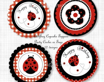 Ladybug Cupcake Toppers or Party Circles - DIY Printable Party Decoration - instant download