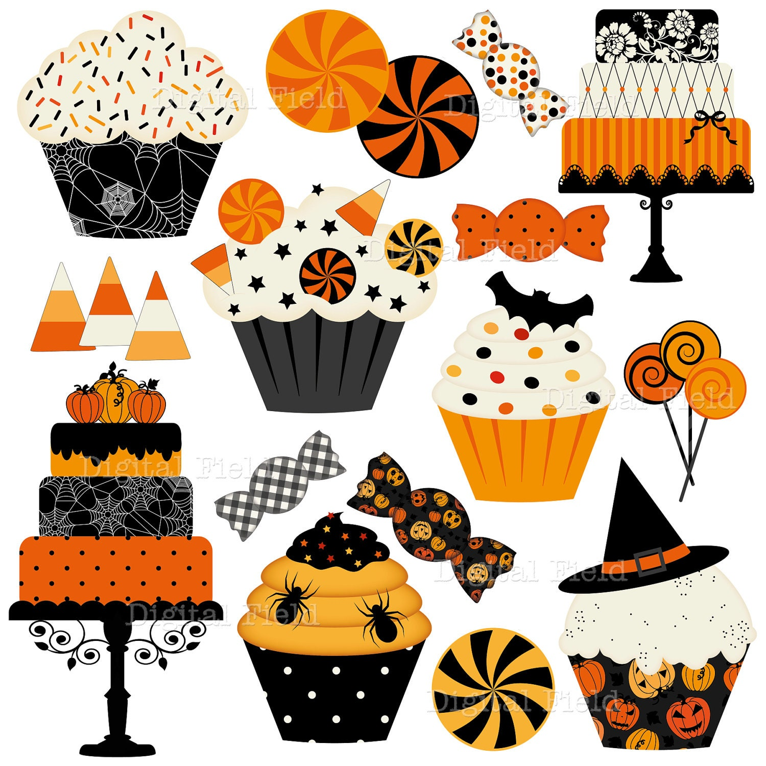 Halloween Cakes Cupcakes and Candies Clip Art Set by ...