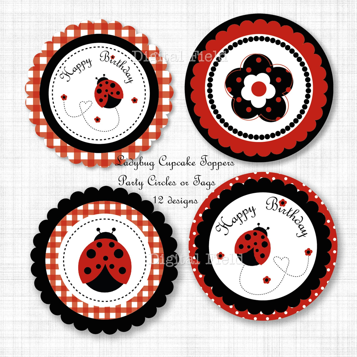 Ladybug Cupcake Toppers Or Party Circles DIY By Digitalfield