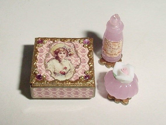 Miniature Vanity Box, Two Perfumes - OOAK Dollhouse One Inch Scale