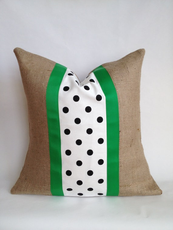 Black and White Polka Dot Fabric and Burlap Pillow Cover with Kelly Green Grosgrain Ribbon