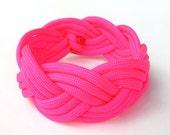 Neon Pink Paracord Bracelet (Triple Braided)