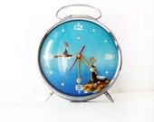 Blue, Aqua, Turquoise Vintage Clock - seal alarm vintage table clock in working condition