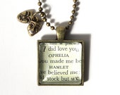 Shakespeare Necklace & Charm - Ophelia and Hamlet