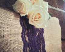 Purple Lace  and Burlap Runners, Choose your size, Fall wedding, Thanksgiving, table decor,