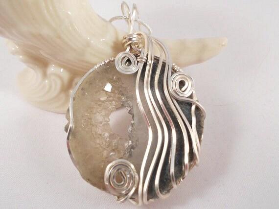 Geode Druzy Wire Wrapped Pendant, Druzy Jewelry