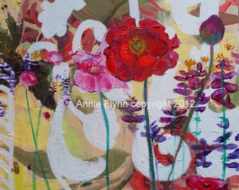 """Archival Print of Original Oil Painting """"Poppy and Salvia Garden"""""""