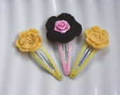 Crochet Flower Snap Hair Clips - Yellow - Brown - Pink