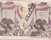 Antique Stero View Patriotic Admiral Evans