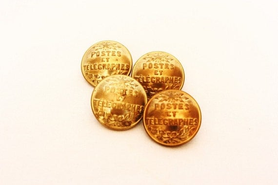 French decor brass buttons, 4, Rare French Post, antique buttons, mail uniform, Paris, French decorations, vintage sewing, sewing notions