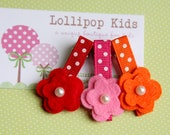 CHOOSE YOUR COLOR Toddler Hair Clip Girls Hair Clip Infant Hair Clip Children Hair Accessory Orange Red Dark Pink Wool Felt Flower Hair Clip