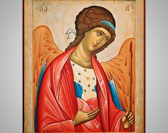 Original Handpainted Icon, Eastern Christian Religious Art, traditional signed icon with golden leaf, Angel, made to order