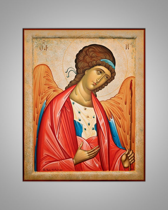Original handpainted Icon, Eastern Christian Religious Art, traditional icon with golden leaf, Angel, made to order