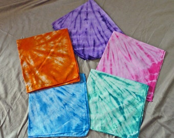 Tie dyed cotton bandanas