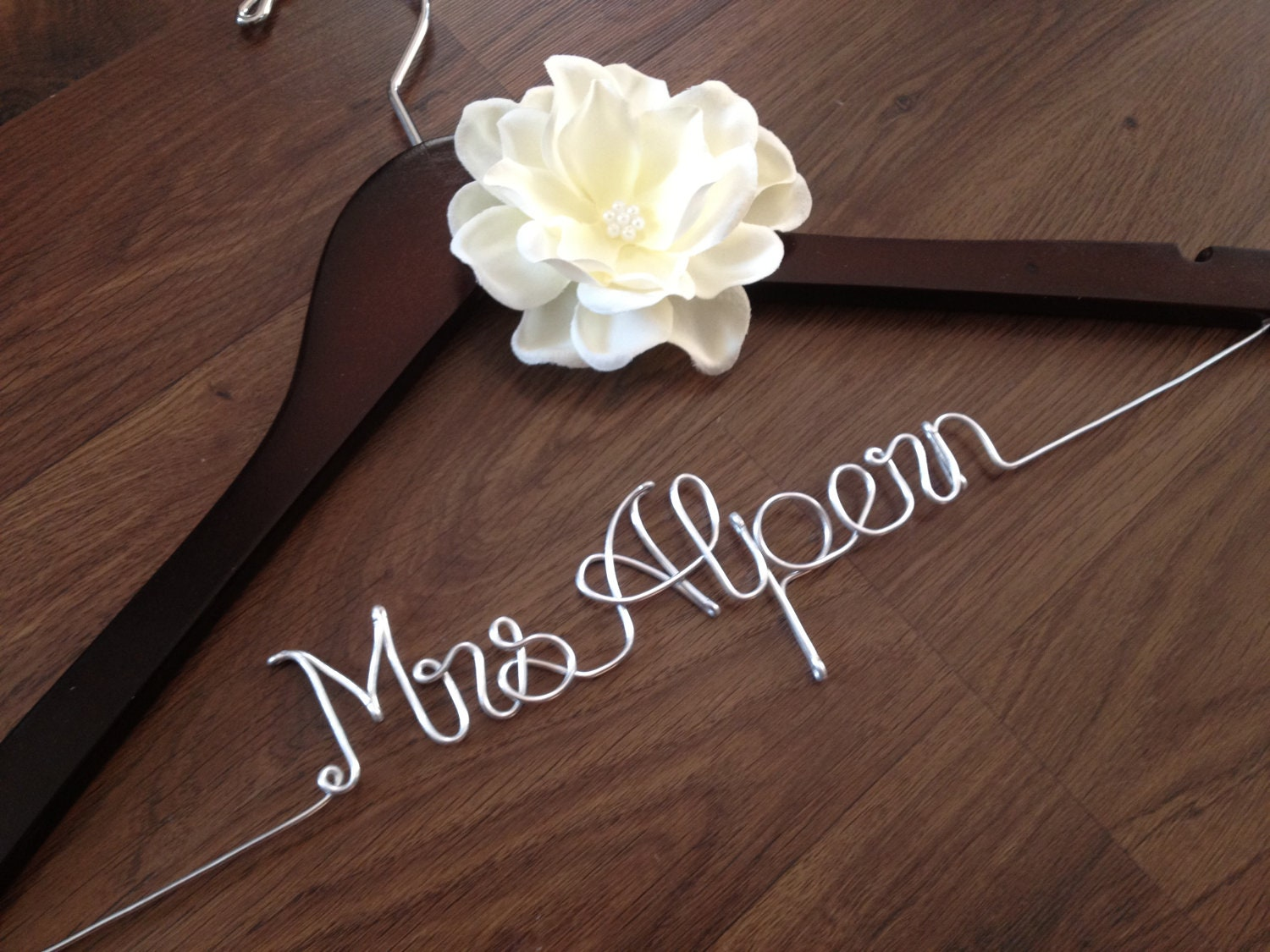 Wedding dress hanger bride hanger last name by deighandesign for Personalized wire wedding dress hanger