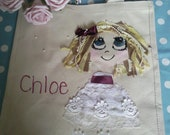 CUSTOM LISTING -vintage style lace/ ribbon/pearl handpainted embellished vintage style bridesmaid / flowergirl  gift tote bag