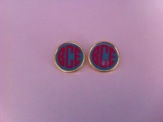 Gold Monogrammed Enamel earrings- one pair-