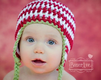 Red and White Christmas Earflap Hat, Baby Christmas Hat, Toddler Holiday Hat
