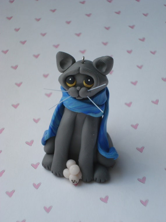 Christmas Ornament Polymer Clay Sculpture Russian Blue Gray Cat