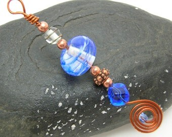 Blue copper suncatcher lampwork