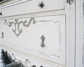 RESERVED-Early 1900s Sideboard or Changing Table Painted in 50 Shades of Grey -not really, more like 5
