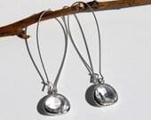 Silver Drop Hoop Glass Framed Earrings