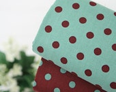 Vintage Polkadot Cotton 8 mm (0.3 inch) in 2 Colors Deep Brown or Aqua 13729-175