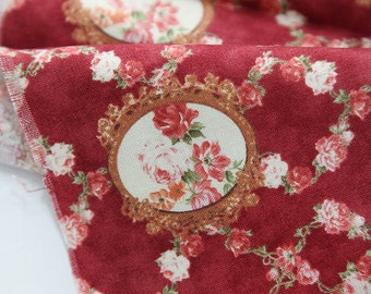 Cotton Fabric Olivia Flower Broach in Red per Yard 24568