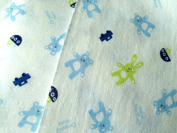 Clearance - Organic Cotton Knit Fabric Blue Bear Green Bunny Cars 1 Yard