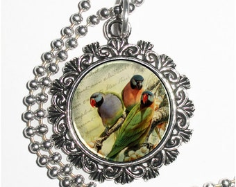 Three Parrots Vintage Art Pendant, Colorful Birds Resin Art Photo Charm Necklace, Ball Chain Included